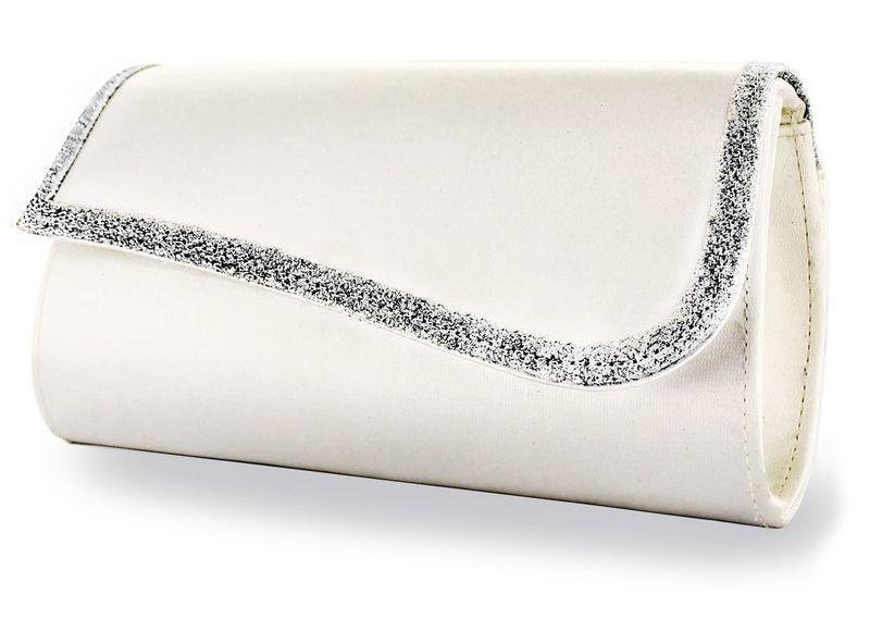 Mandy ivory-silber Satin-Glitter - einfärbbare Brauttasche
