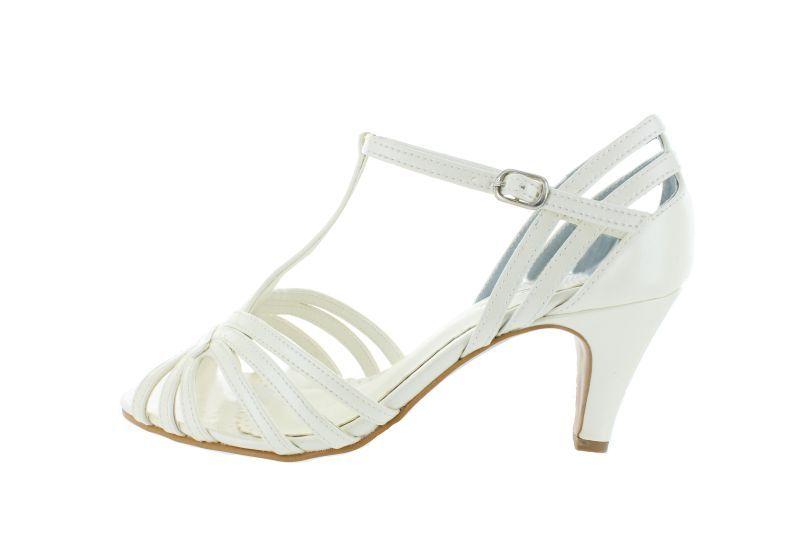 272 offwhite Leder vintage Braut Sandaletten