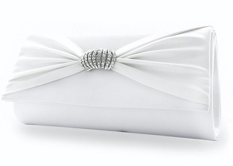 White Lady Satin Braut Clutch Sara weiß