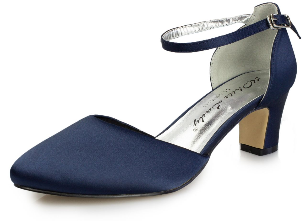 bequeme Satin Pumps blau -700 atlantik