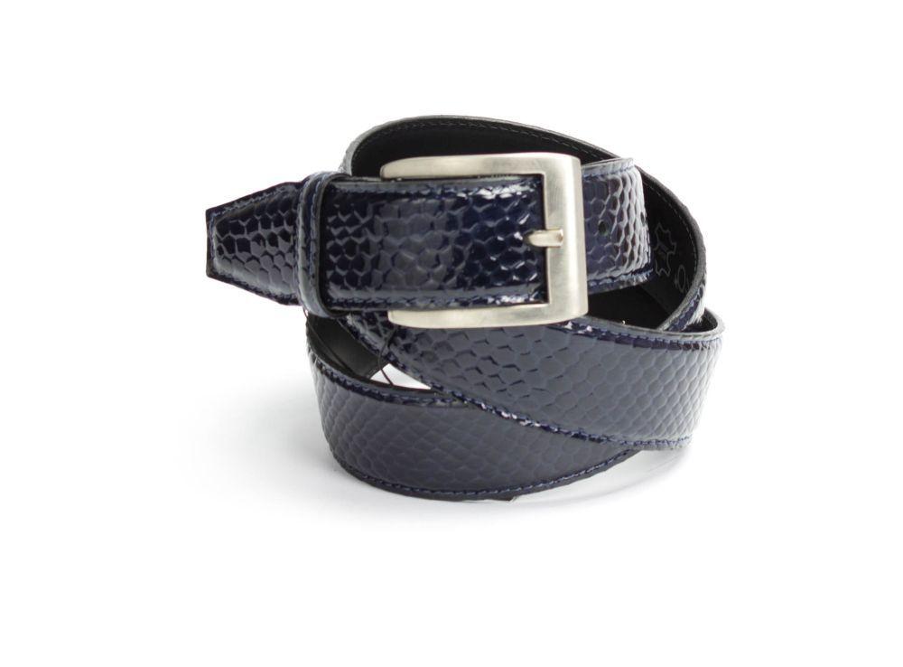 G10 schwarz-blau Kroko - Dornschnalle Gürtel