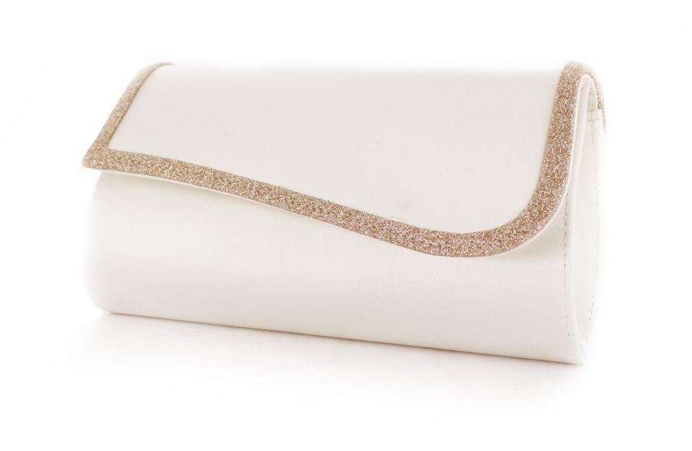 Mandy ivory-champagner Satin-Glitter - einfärbbare Brauttasche