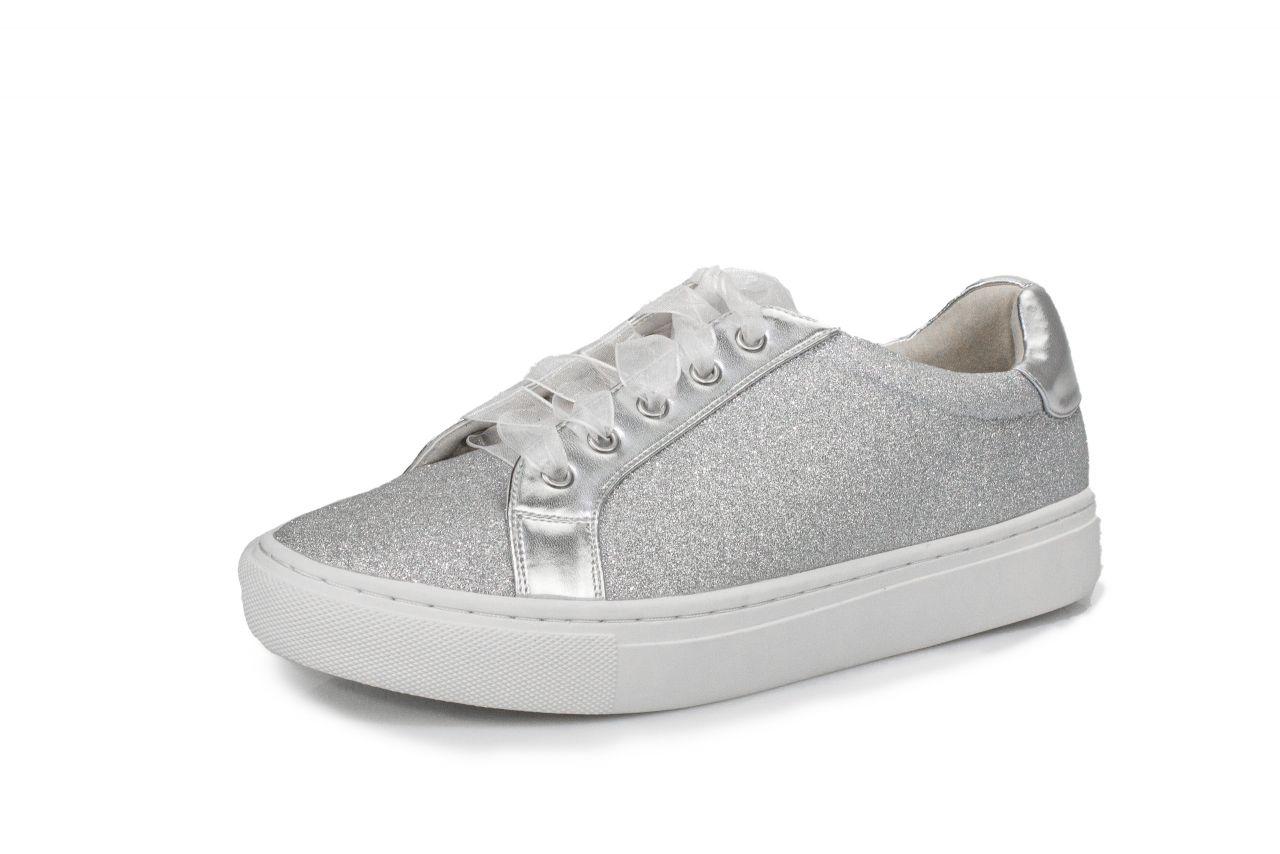 White Sneaker Brautsneaker silber glitter
